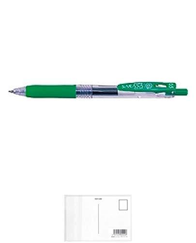 ゼブラ ジェルインクボールペンサラサクリップ0.5 緑5本 + 画材屋ドットコム ポストカードA