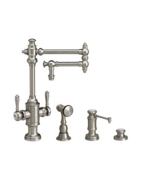 Best Deals! Waterstone 8010-12-3-WC Two Handle Kitchen Faucet 12 Articulated Spout 3pc. Suite Weath...
