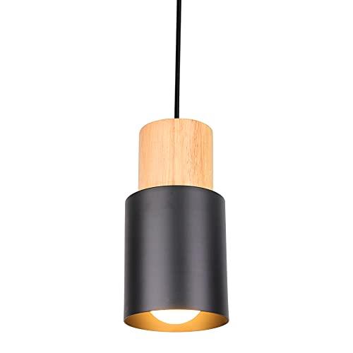 Lámpara Cilindro Colgante Metal Lámparas Techo Colgantes Madera E27 Negro