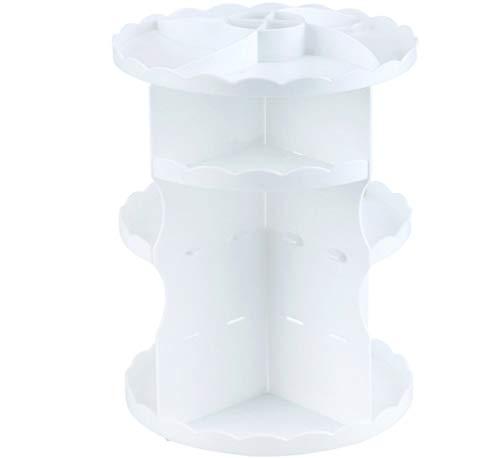 Mitefu Organisateur de Maquillage Modèles de Dentelle Rotatif Rond à 360 Degrés Boîtier de Rangement pour Cosmétique en Plastique, Blanc