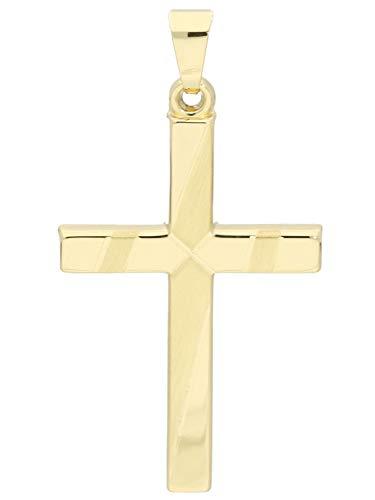 MyGold Kreuz Anhänger (Ohne Kette) Gelbgold 375 Gold (9 Karat) Kreuzanhänger Kettenanhänger 35mm x 20mm Otagu A-07956-G603