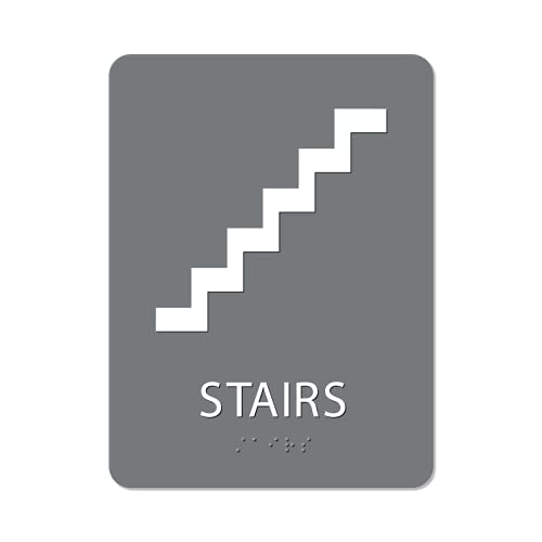 The Sign Studio - 8' x 6' - Grey/White - ADA - Stairs with Pictorial Sign with Tactile & Braille