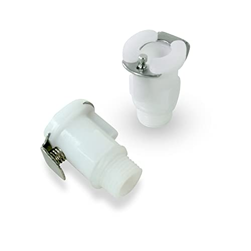 LeLuv Fitting Female 1/4 inch Quick-Disconnect to Male Threaded 1/8 inch Npt Vacuum Cylinder Connector 6 Pack White