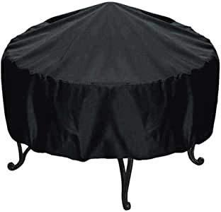 Tianhao Schutzhülle für Feuerschale, rund, UV-Schutz, Polyester, schwarz, gegen Staub, zwei Größen
