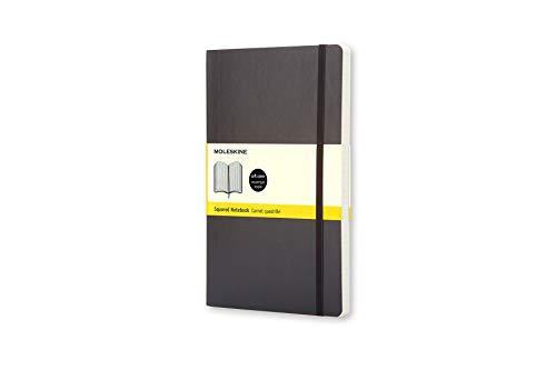 Moleskine Cuaderno Clásico con Hojas Cuadriculadas, Tapa Blanda y Cierre Elástico, Color Negro, Tamaño Pequeño 9 x 14 cm, 192 Hojas