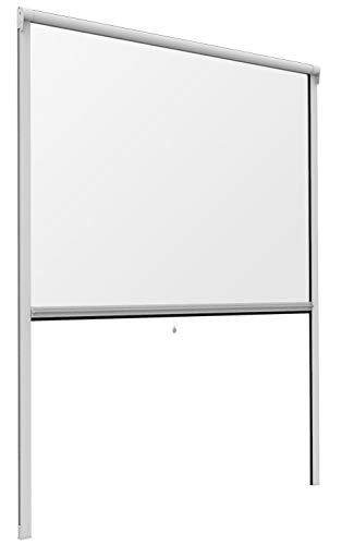 Mosquito Stop 03949-Mosquitera para Ventana (Marco de Aluminio, se Puede acortar, 130 x 160 cm), Color Blanco