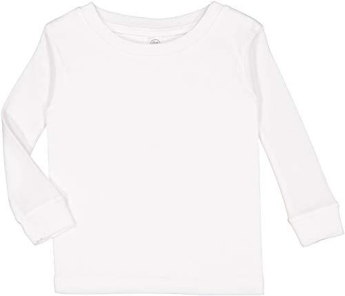 RABBIT SKINS 100% Combed Ringspun Cotton Toddler Long Sleeve Baby Rib Pajama Top, White, 2T