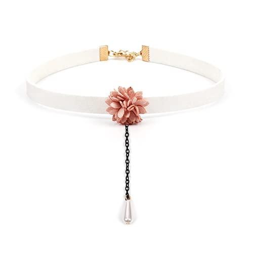 Collar personalizado, collar corto para mujer, terciopelo, flores de moda, flores de perlas, es el mejor regalo para el día de la madre