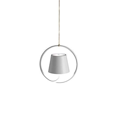 Zafferano Poldina-Wiederaufladbare LED Hängeleuchte, Leuchte mit Aluminiumgehäuse, IP54, Geeignet für den Außen-und Innenbereich, Dimmbar, EU-STECKER-Weiß, 2.2 W