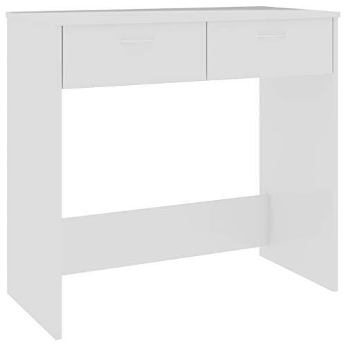 Cigopx Escritorio de aglomerado Blanco Brillante 80x40x75 cm