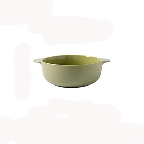Cuenco de Ceramica 8 Pulgadas Inicio Cerámica Orejas Anti-Caliente Ensalada De Sopa De Frutas Cuenca Soup Bowl Tazón (Color : Green)