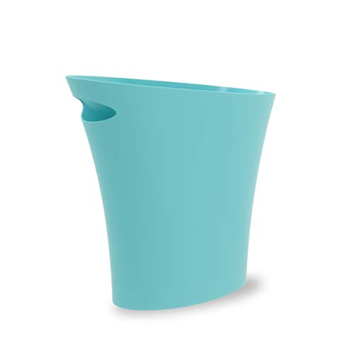 Umbra Skinny Abfalleimer – Kleiner & stylischer Badezimmer Mülleimer, Schlanker Papierkorb für kleine Räume in Ihrem Zuhause oder Büro, 7,5 l Fassungsvermögen, Kunststoff/Aquamarin Blau