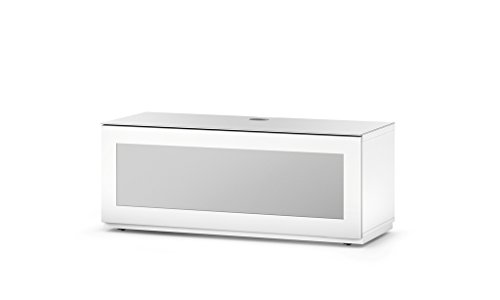 SONOROUS Studio ST-110B I/R Friendly Wood and Glass TV Stand with Hidden Wheels for Sizes up to 65' (Modern Design with 4 Shelves for Your Audio/Video Components and Consoles) - White Glass Cover