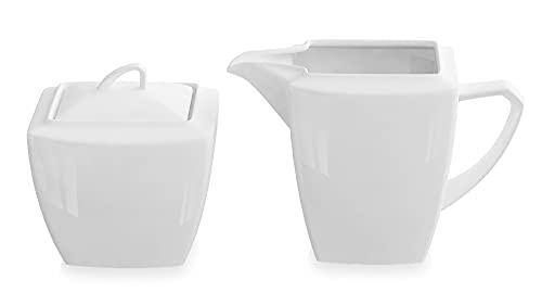 MALACASA, Series Blance, 3 Piezas Jarra de Leche de Porcelana Juego de Vajillas y Azucarero con tapa, Ayudante de Cocina Color Blanco