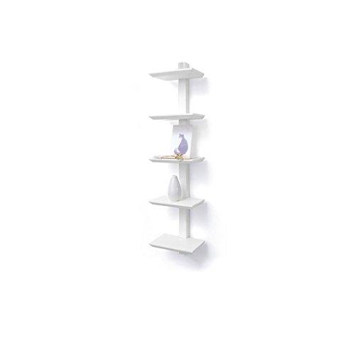 Lingyun Étagère- Support de fleur de bambou en bois massif ➫ Décoration de la salle de séjour ❀ Support à plantes multicouches Decoration Décoration murale ❀ Support à fleurs ❁ Étagère en bois multifonctionnel ❀ Support à fleurs ❁ Présentoir ❀ Support à vase ( Couleur : Blanc , taille : 20*15*84 )