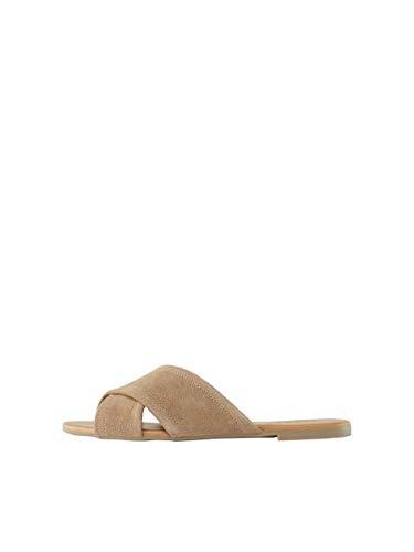 Sandalias amarillas planas con tiras cruzadas para mujer
