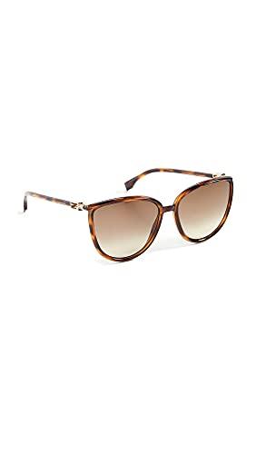Fendi Gafas de sol redondas de acetato para mujer, marrón (Marrón), Talla única