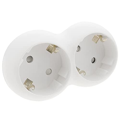 BeMatik - Abgerundeter weißer Doppel-Schuko-Steckeradapter-Multiplikator