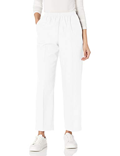 Alfred Dunner Women's All Around Elastic Waist Polyester Pants Poly Proportioned Medium, White, 14 Petite