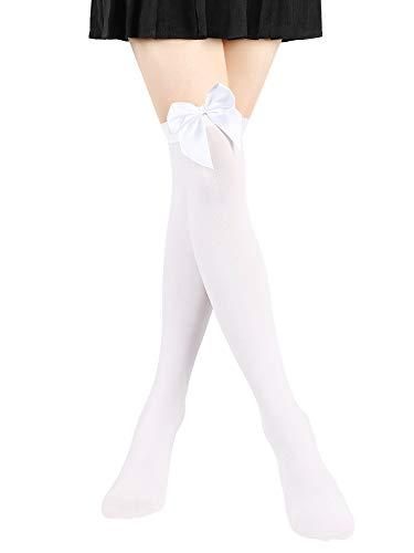 SATINIOR Satin Bogen Strümpfe Frauen Undurchsichtig Oberschenkel Hohe Strümpfe über Knie Lange Strümpfe (Weiß, 1)