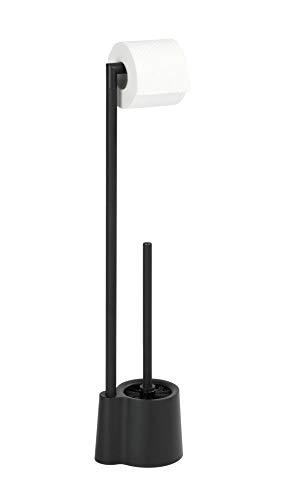 WENKO Juego de pie para el WC Avola negro mate - Portaescobillas para el WC, Polipropileno, 13 x 70 x 16 cm, Negro