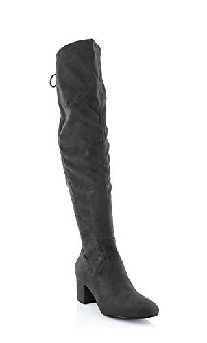 Ivanka Trump Womens Pelinda Suede Almond Toe Knee High Fashion, Black, Size 11.0