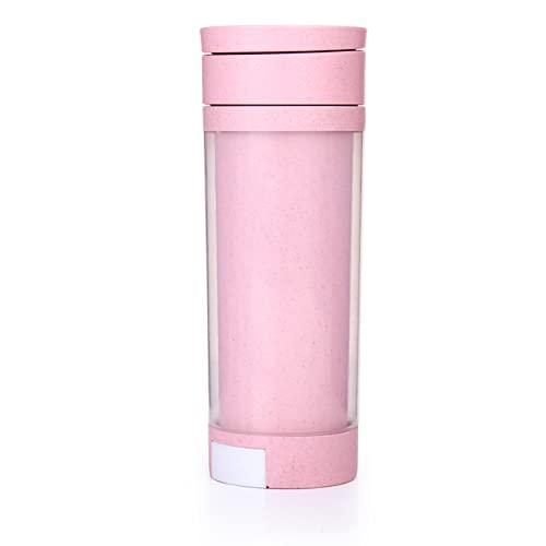 YIXINYOUPIN Taza de agua, botella de agua con pajita, botella de agua ecológica, botella deportiva de plástico no tóxico Tritan sin Bpa, adecuada para fitness, gimnasio, senderismo Rosa