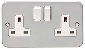 Metal Clad Switch Socket 2 Gang 13A