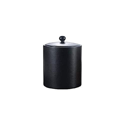 Cubo de hielo de acero inoxidable - Hecho a mano negro Bucket de hielo con aislamiento con aislamiento de doble pared aislado con tapas para fiestas (Color : Black)