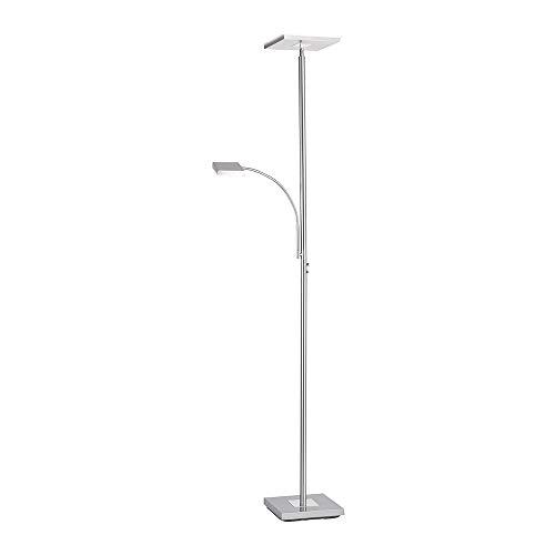 LED Stehlampe dimmbar, Deckenfluter mit Leselampe, Edelstahl - moderne Stehleuchte, Lesearm verstellbar, warmweißes Licht Wohnzimmer, Büro Schlafzimmer