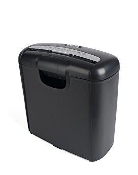 Pavo 8008506Premium–Destructora de papel (hasta 6hojas, corte en tiras, kreditk tipo de trituradora Incluye Papelera, 10L, color negro