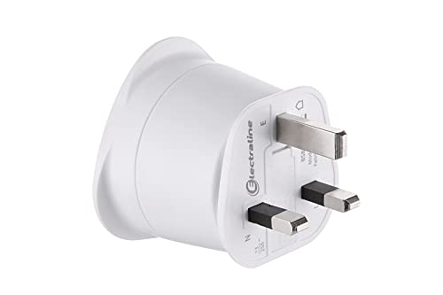 Electraline 70053 Adaptateur de voyage France/Europe vers UK 2 Broches Europe vers 3 Broches Uk, White
