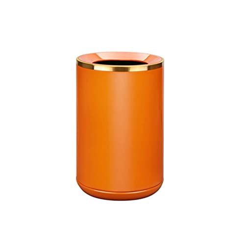 Papelera Bote de basura de metal naranja con abertura curva de la casa de la casa de la casa de la casa de la canasta de la basura de la basura de la basura de la oficina de la oficina de la oficina d