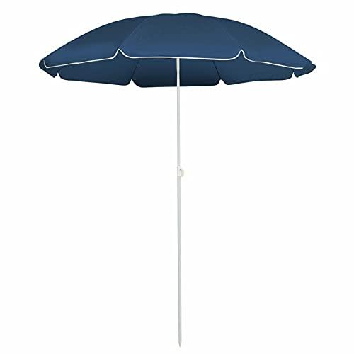 Tidyard Sombrilla de jardín con Poste de Acero Azul 180 cm Sombrilla Parasol Playa/Terraza/Jardín/Tiempo Libre
