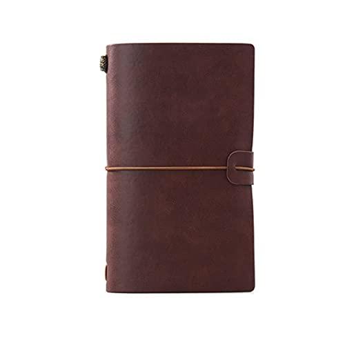 LWLEI Cuaderno portátil A6 Diario de Viaje Creativo Retro Retro Personalizado de Cuero Desmontable de Hoja Suelto (76 Hojas / 152 páginas) (Color: Verde) Song (Color : Wine Red)