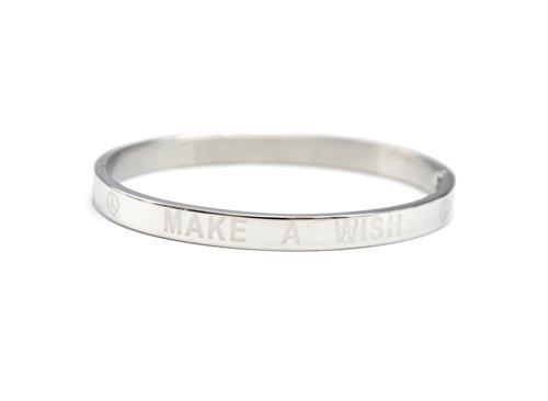 Oh My Shop–bc1994d–Braccialetto a cerchio acciaio argento con messaggio Make a Wish