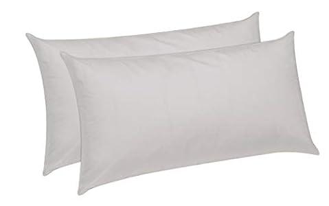 Pikolin Home - Pack de 2 almohadas de fibra, antiácaros, funda 100% algodón, firmeza media, 40x75cm, altura 18cm (Todas las medidas)