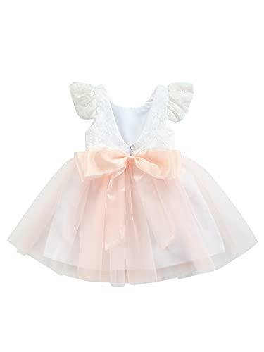 Abito Bambina Senza Maniche Vestito Principessa in Pizzo Stampa Floreale Gonna Tutu Balletto in Tulle Compleanno Party Cerimonia (Rosa, 6-7 Anni)