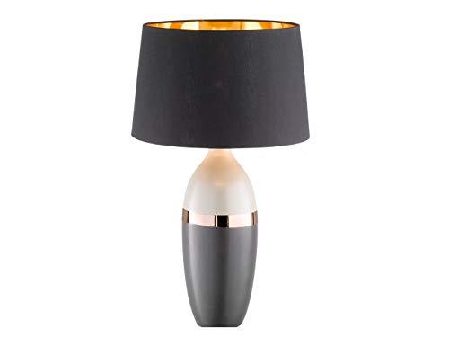 Elegante Honsel Keramik Tischlampe grau / schwarz mit 3W LED, Lampenschirm Textil, Höhe 45cm