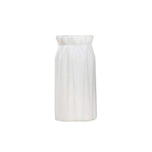 Nicetruc Estilo nórdico imitación cerámica Botella Tiesto Origami florero plástico decoración del hogar (Blanco) Decoraciones Interiores
