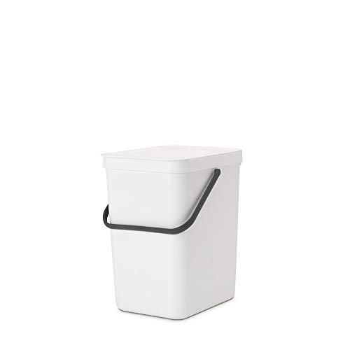 Brabantia Sort & Go Mülleimer, Kunststoff, Weiß, 25L