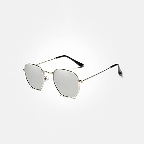 KUNIUO Gafas De Sol Reflectantes para Hombre, Gafas De Sol Retro Hexagonales, Gafas De Sol De Acero Inoxidable, Gafas De Sol, Sombras-Silver Mirror