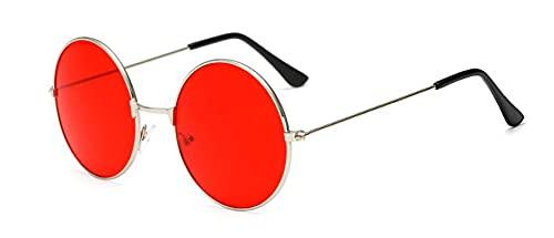 ShFhhwrl Clásico Gafas De Sol Gafas De Sol Redondas para Mujer, Gafas De Sol De Espejo con Lente Roja Grande,Gafas Circulares