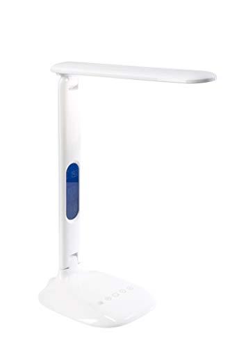 Genie TL32 LCD LED bureaulamp/leeslamp met display voor datum, klok en temperatuur; met timer, 5 niveaus dimbaar, 3 lichtkleuren via touchsensor, wit