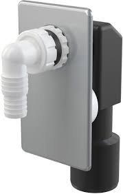 Wandeinbau Unterputz Siphon Sifon mit Geräteanschluss Abgang 40-50 mm Geberit kompatibel Langer Anschlussnippel (Bei Bedarf kürzbar) Abdeckplatte weiss