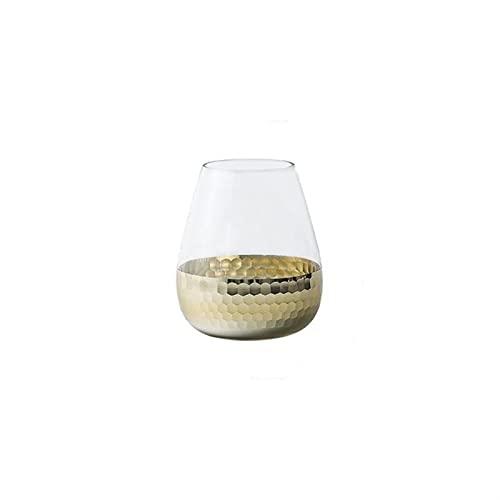 NZNZ Jarrón de Cristal de Oro de la Hoja para la decoración del hogar del florero de Figurines Plantas Macetas para Escritorio Decoración Adornos Crafts (Color : Gold C)