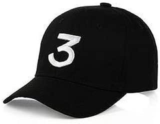 Fashion Embroider Baseball Chance Caps Cotton Classic Baseball Cap Rapper Number 3 Caps,Adjustable Buckle Closure Ladies Men's Hat Sports Golf Cap,Black