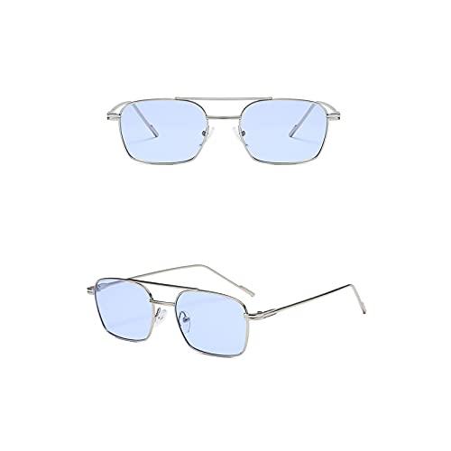 Aetygh Gafas de Sol polarizadas para Mujeres Hombres Retro Aviator Square Goggle Classic Alloy Frame (Color : C4, Size : 64mm)
