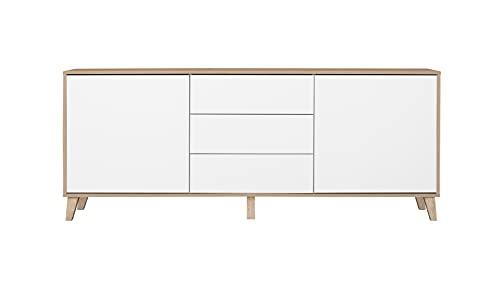 Aparador de Salón de 2 Puertas y 3 Cajones Color Roble Cambrian y Blanco Medidas: 183 (Ancho) x 62 (Alto) x 35 (Fondo)