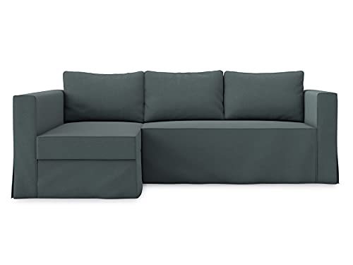 TLYESD Polyester Loose Fit Manstad Sleeper Sofa Cover for IKEA Manstad 3 Seat Sofa Bed Slipcover and Sectional Chaise Sofa Cover (Polyester Dark Grey, Chaise on Left(face to Sofa))